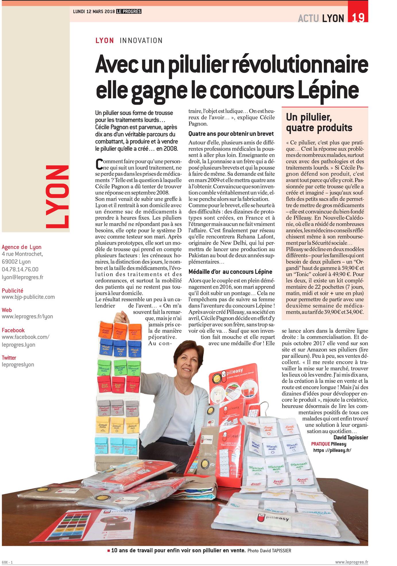 """Pilleasy dans le journal """"le Progres - Lyon"""